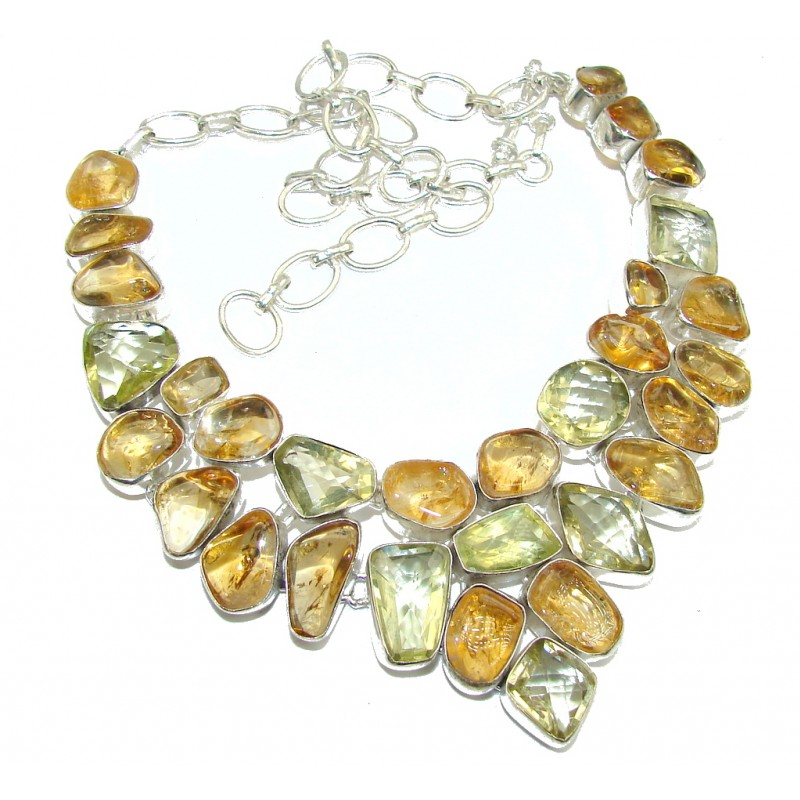 Summer Beauty AAA Yellow Citrine Sterling Silver Necklace