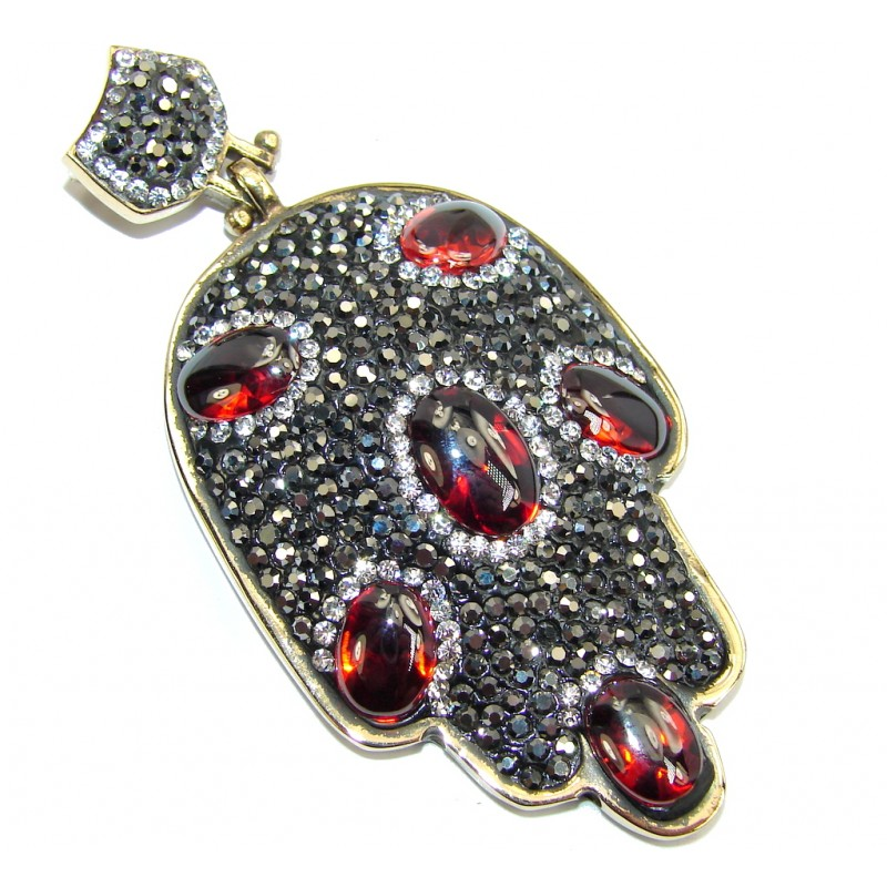 Victorian Style Hamsa Hand Created Red Garnet Sterling Silver Pendant