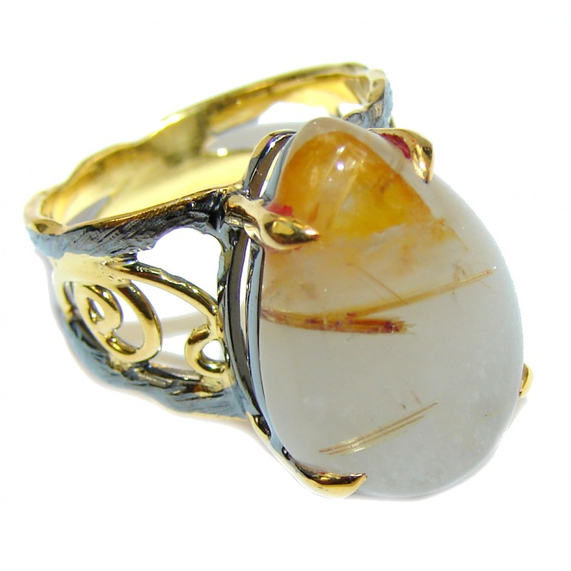 Secret Island AAA Golden Rutilated Quartz, Gold Plated, Rhodium Plated Sterling Silver Ring s. 6 1/4