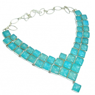 Huge! Ocean Beauty Light Blue Agate Sterling Silver necklace