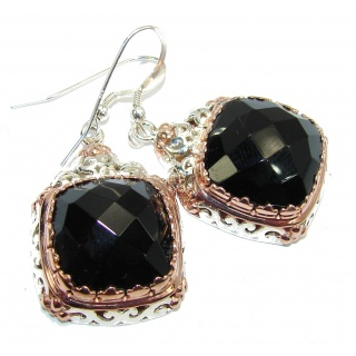 Just Perfect Black Onyx, Two Tones Sterling Silver earrings