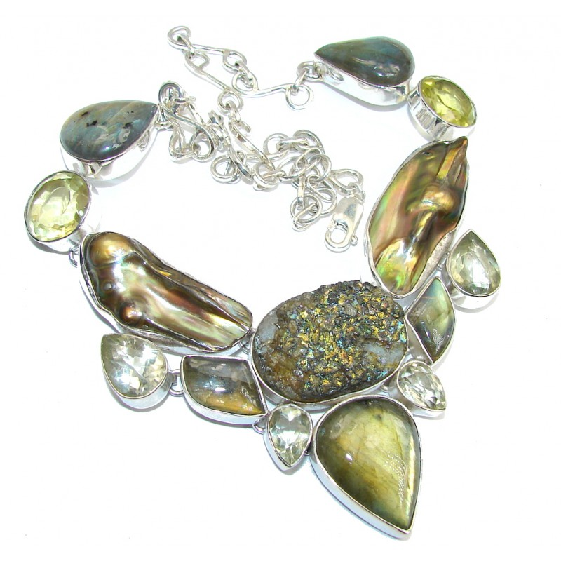 Secret Beauty AAA Green Labradorite Sterling Silver necklace