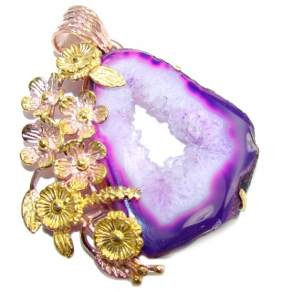 Big! Perfect Style Purple Agate Druzy, Two Tones Sterling Silver Pendant