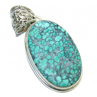 Green Spider Web Turquoise Sterling Silver Pendant