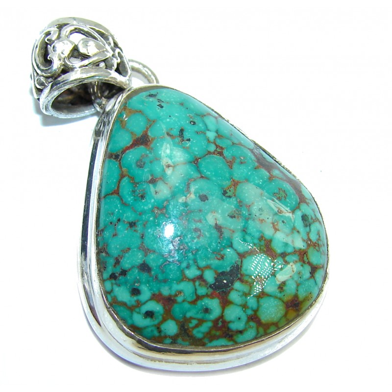 apache green turquoise sterling silver pendant 16 80g