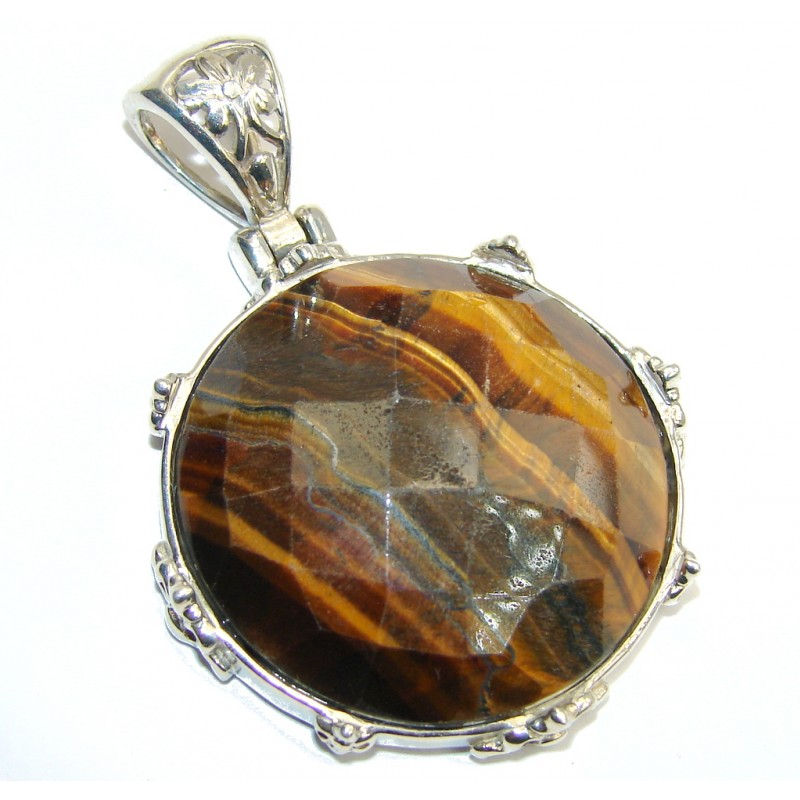 Simple Brown Tigers Eye Sterling Silver Pendant