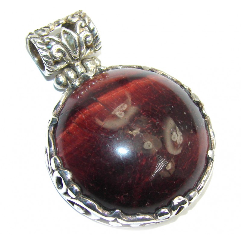 Amazing Red Tigers Eye Sterling Silver Pendant