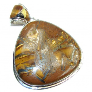Big! Awesome AAA Brown Tigers Eye Sterling Silver Pendant