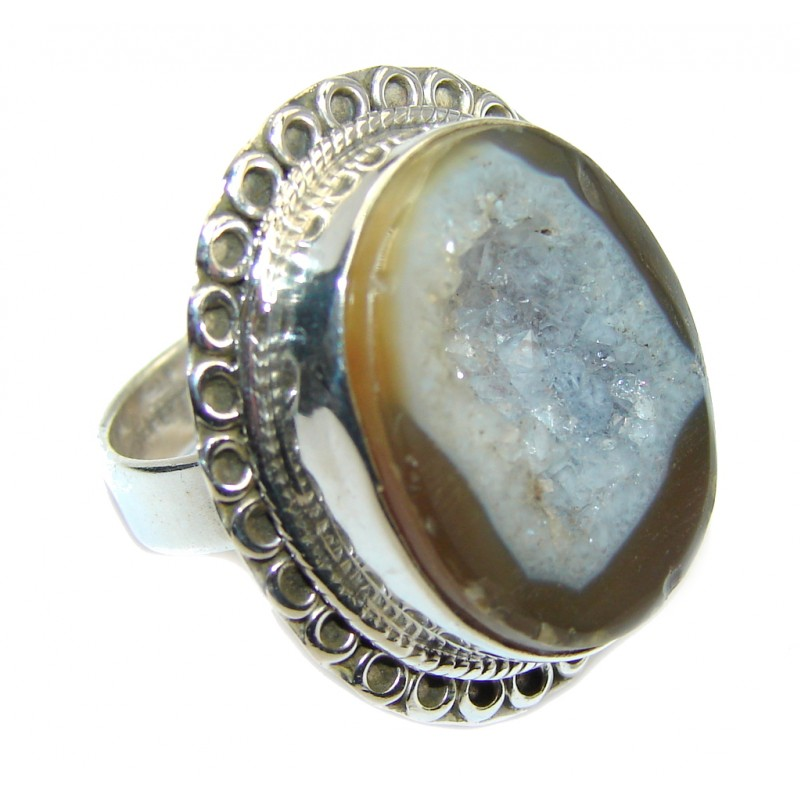 Classic Gray Agate Druzy Sterling Silver Ring s. 6