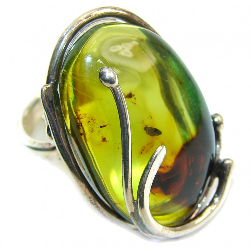 Genuine AAA Green Polish Amber Sterling Silver Ring s. 7- adjustable