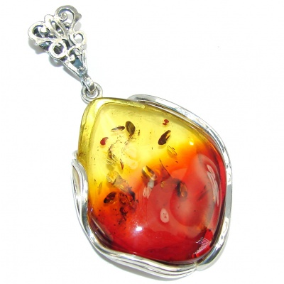 Natural AAA Brown Baltic Polish Amber Sterling Silver Pendant