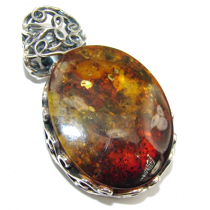 Genuine AAA Brown Baltic Polish Amber Sterling Silver Pendant