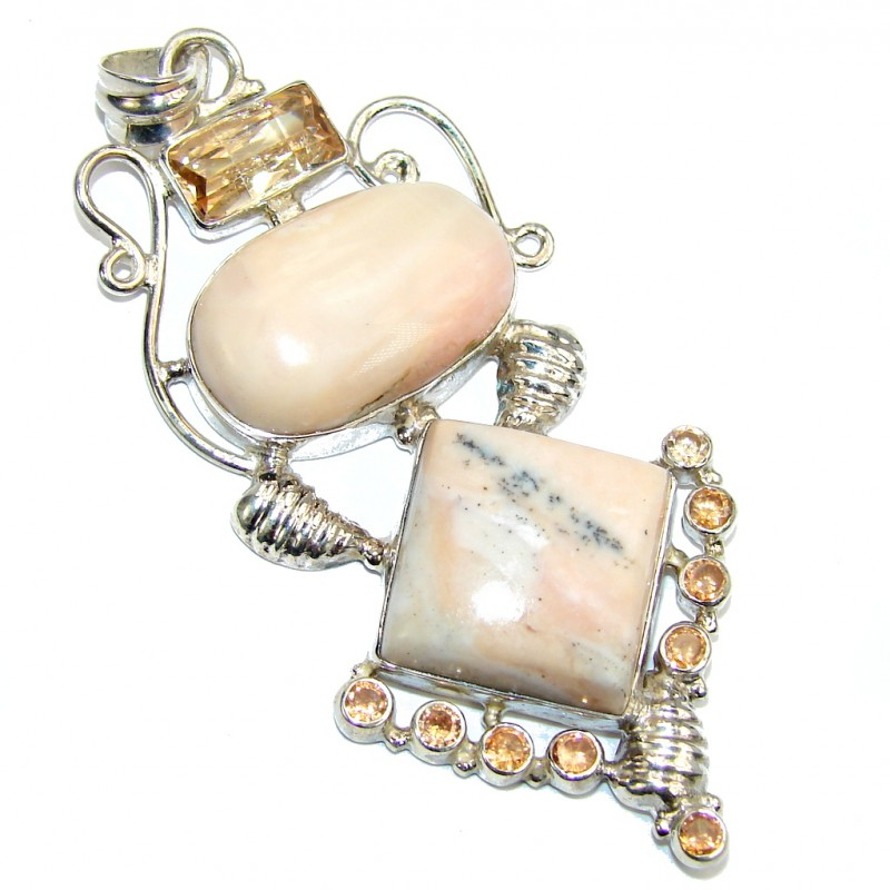 Big! Delicate AAA Pink Opal Sterling Silver Pendant