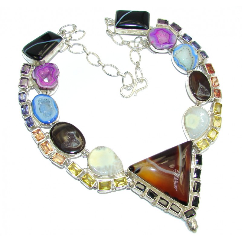 Exotic Beauty Botswana Agate Sterling Silver necklace