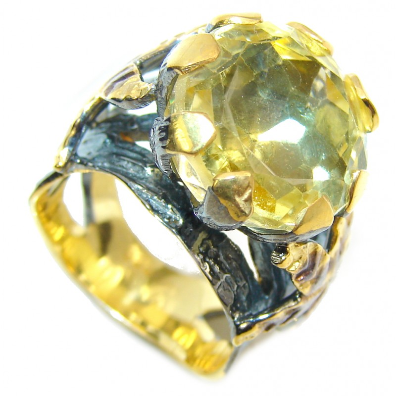 Genuine AAA Citrine, Gold Plated, Rhodium Plated Sterling Silver Ring s. 6 1/4