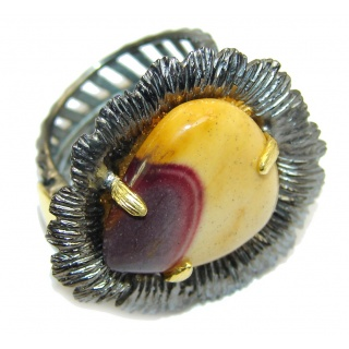 Awesome AAA Mookaite Jasper, Gold Plated, Rhodium Plated Sterling Silver Ring s. 6- adjustable