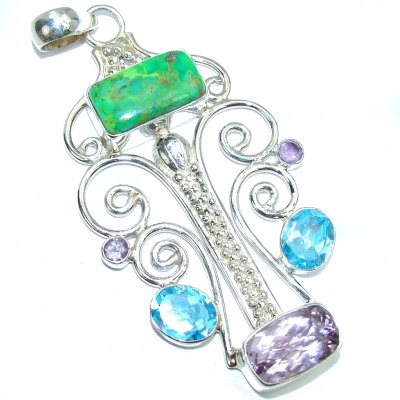 Modern Concept Green Blue Turquoise Sterling Silver Pendant