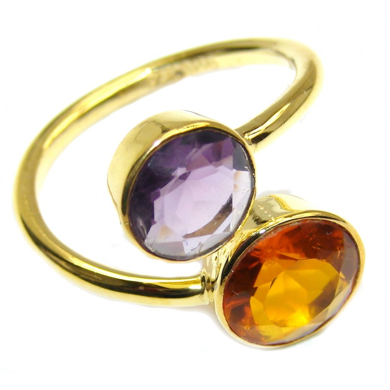Delicate Multicolored Quartz Gold Plated Sterling Silver ring s. 8