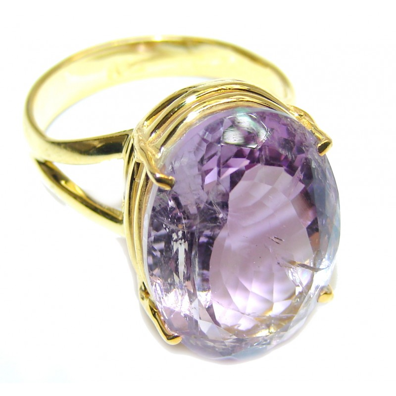 Delicate Multicolored Quartz Gold Plated Sterling Silver ring s. 9