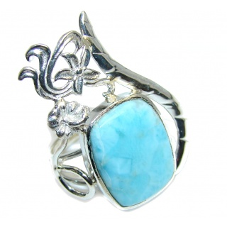 Genuine AAA Blue Larimar Sterling Silver Ring s. 7 1/4