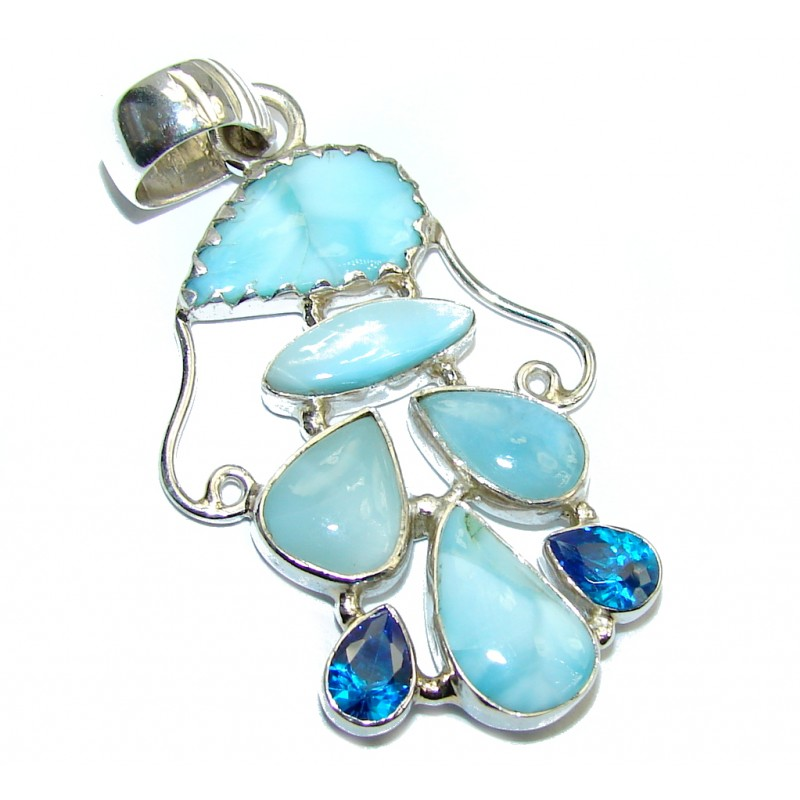 Great AAA Blue Larimar Sterling Silver Pendant