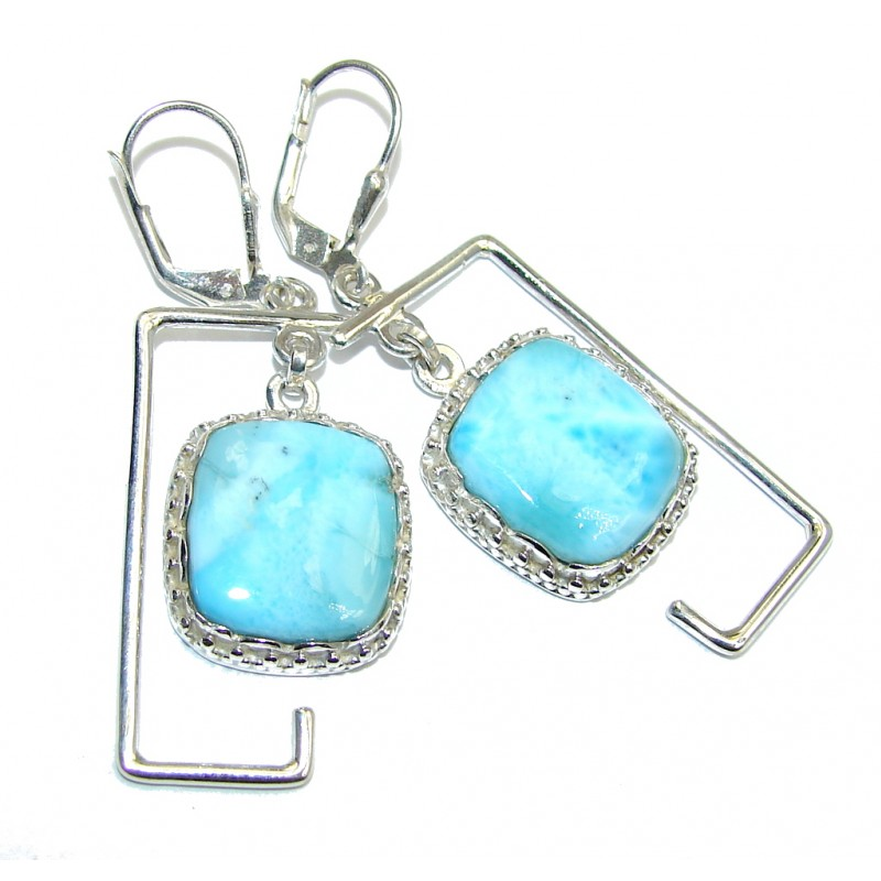 Simple and Beautiful AAA Blue Larimar Sterling Silver earrings