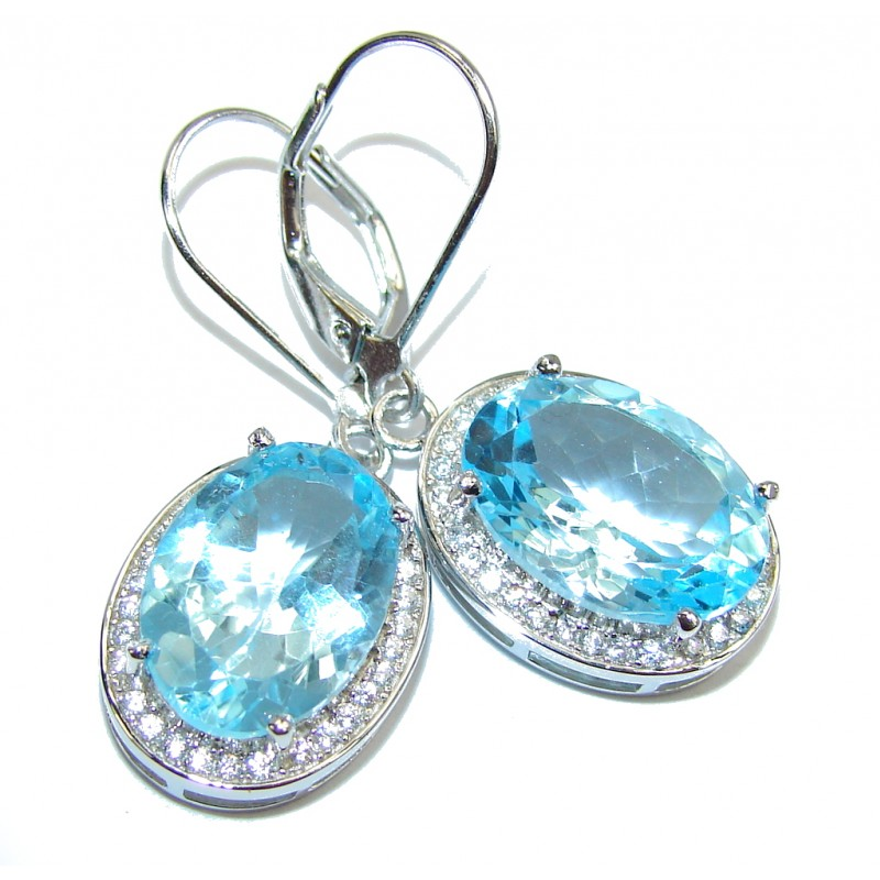 Natural AAA Blue Topaz Sterling Silver earrings