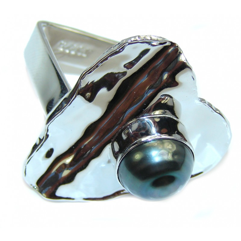 stylish modern black pearl sterling silver ring s 8 9