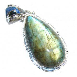 Amazing AAA Blue Fire Labradorite Sterling Silver Pendant