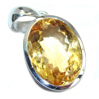 Genuine Oval cut 80 ct. Citrine Sterling Silver Pendant
