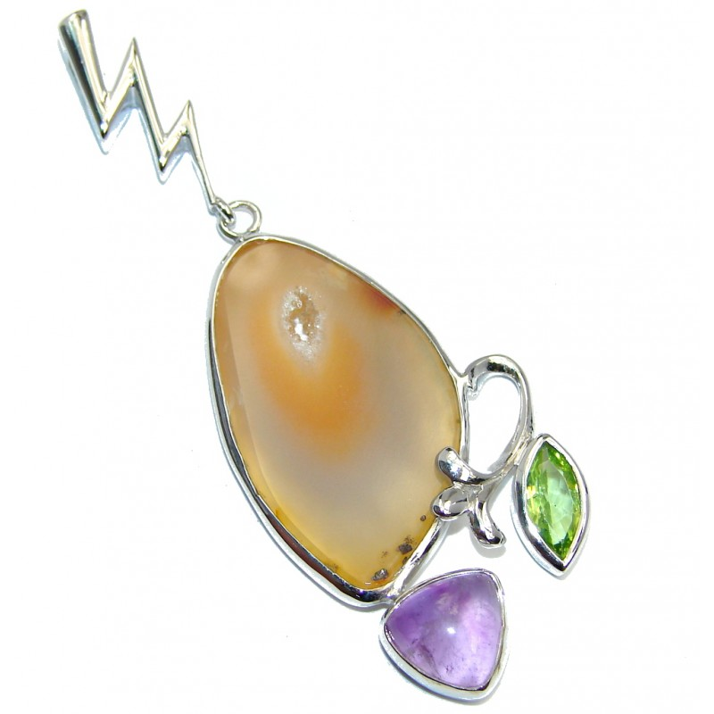Amazing Natural Botswana Agate Sterling Silver Pendant