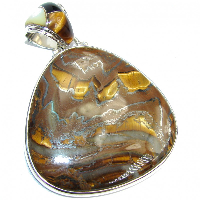 Big Awesome Golden Brown Tigers Eye Sterling Silver Pendant
