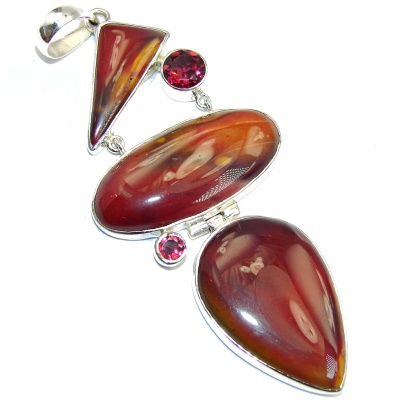 Large! Natural Australian Mookaite Sterling Silver Pendant