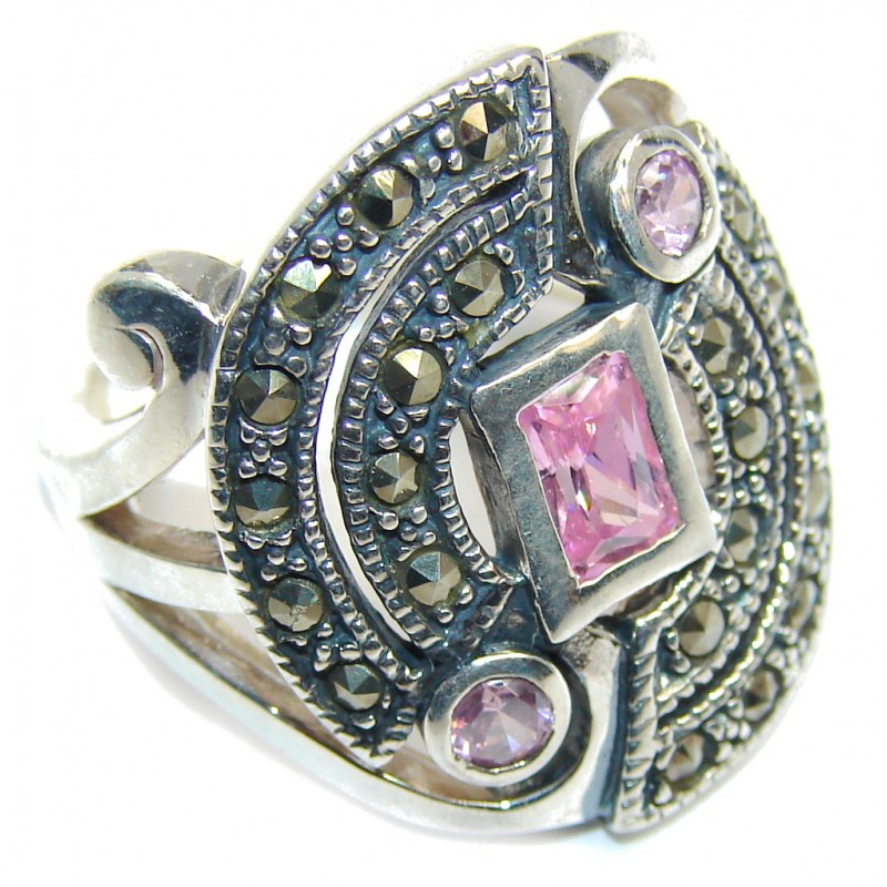 Pink Cubic Zirconia & Marcasite Sterling Silver Ring s. 6