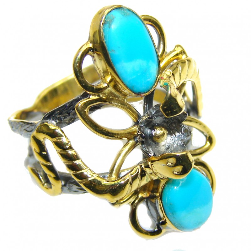 Sleeping Beauty Blue Turquoise, Rose Gold Plated, Rhodium Plated Sterling Silver Ring s. 7