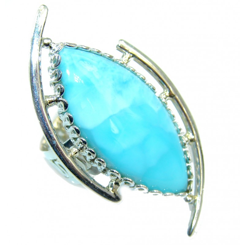 Genuine AAA Blue Larimar Sterling Silver Ring s. 6