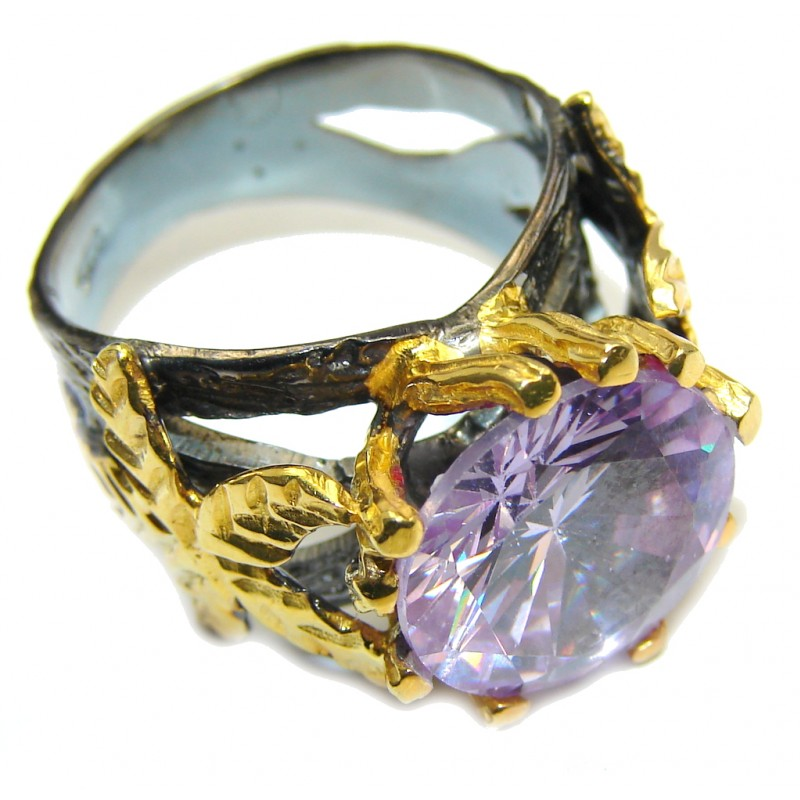Very Elegant Purple Cubic Zirconia Gold Rhodium over Sterling Silver Ring s. 8