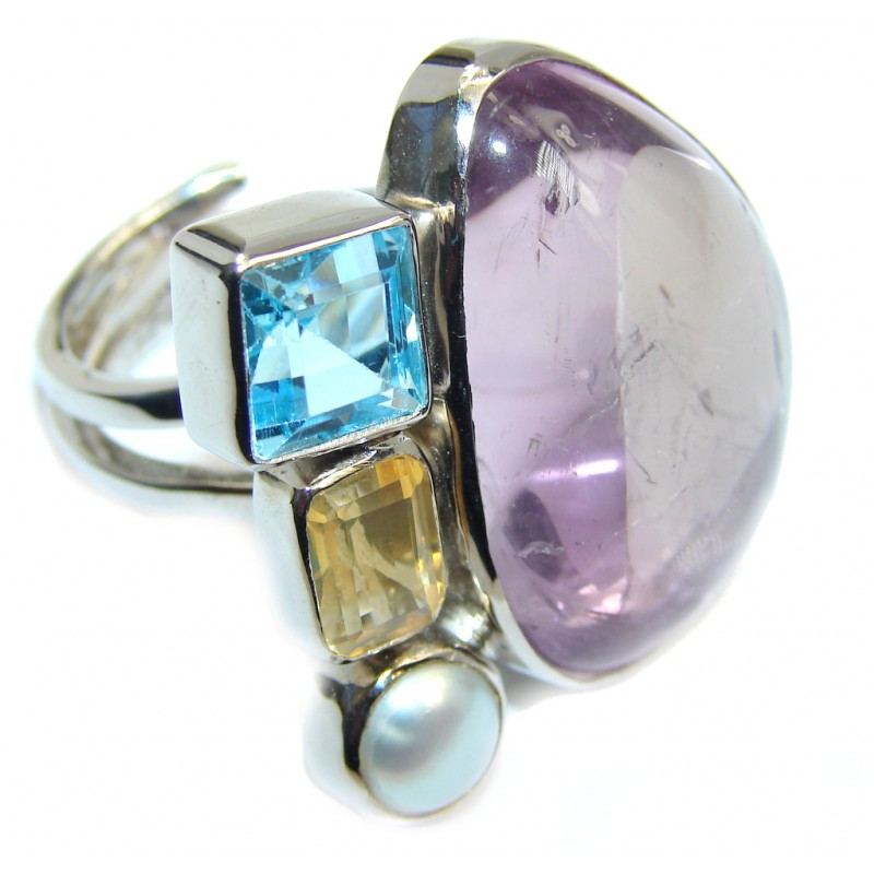 Exotic Pink Amethyst Sterling Silver ring s. 7- adjustable
