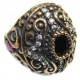 Victorian Style Onyx White Topaz Sterling Silver ring; s. 6 1/4