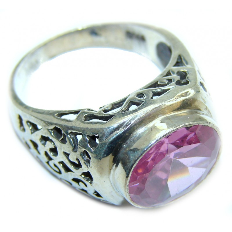 Excellend Pink Cubic Zirconia Sterling Silver Ring s. 8