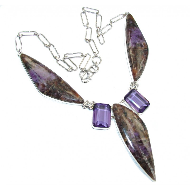 Enigma Purple Charoite Sterling Silver handmade Necklace