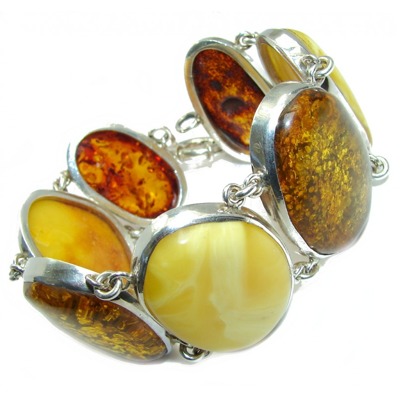 Natural Beauty AAA Butterschotch Polish Amber Sterling Silver Bracelet