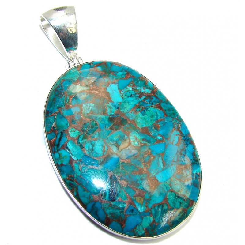 Amazing Crashed Blue Azurite with Copper Vains Sterling Silver Pendant
