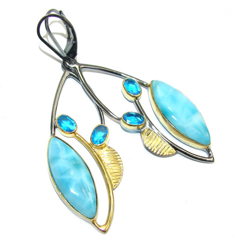 Simple and Beautiful AAA Blue Larimar Gold Rhodium over Sterling Silver earrings