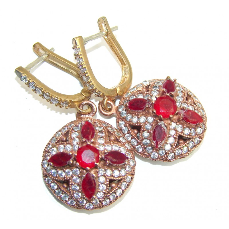 Victorian Style Red Ruby Quartz & White Topaz Sterling Silver earrings