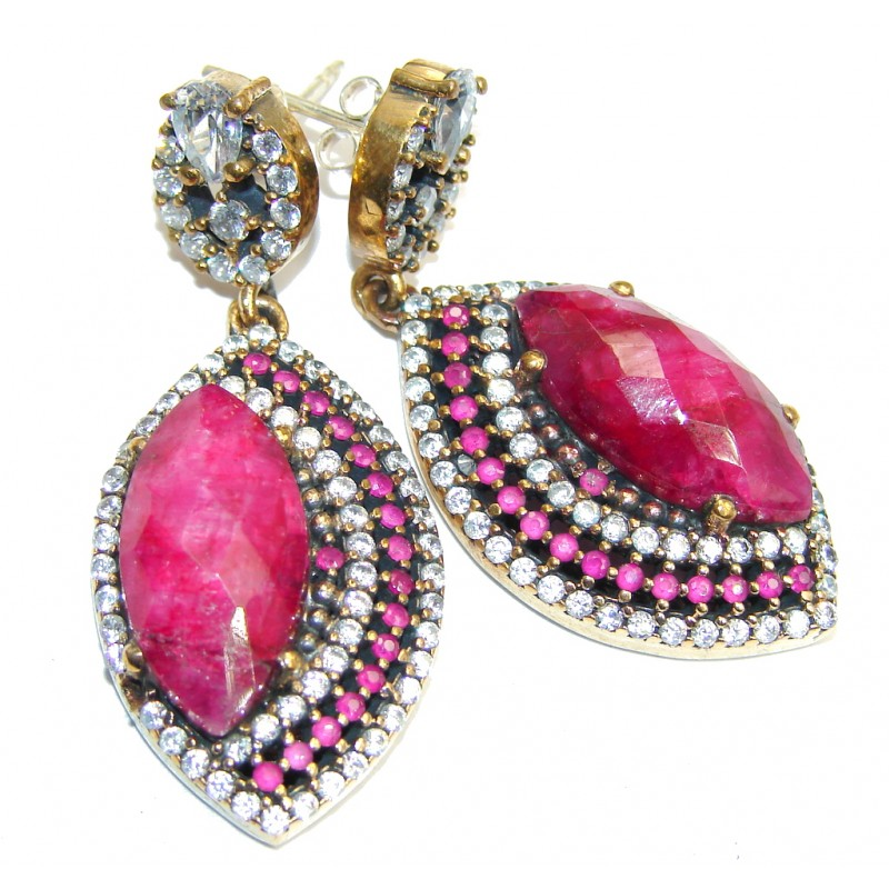 Victorian Style Red Ruby & White Topaz Sterling Silver earrings