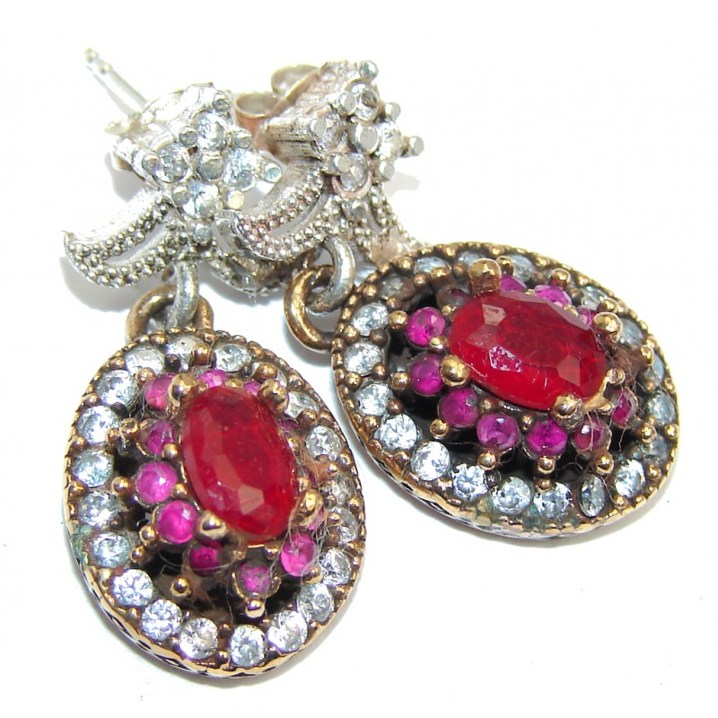 Victorian Style created Red Ruby & White Topaz Sterling Silver earrings