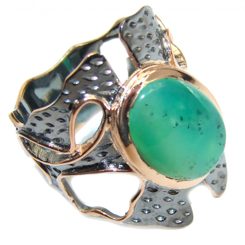 Gorgeous AAA Green Chrysophrase, Gold Plated, Rhodium Plated Sterling Silver Ring s. 8 1/2