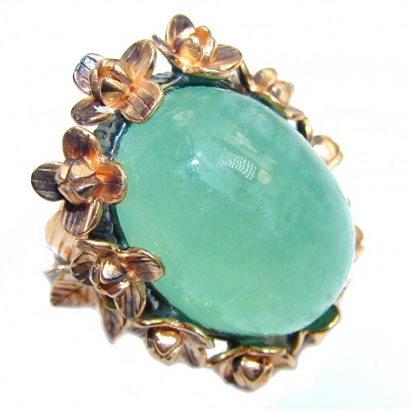 Vintage Design AAA Green Apatite Rose Gold Plated, Rhodium over Sterling Silver ring; s. 5 3/4