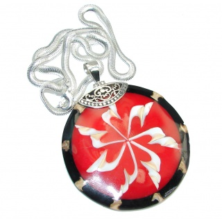 Protective Shield Red Ocean Shell Sterling Silver necklace